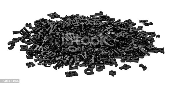 istock Pile of black letters, 3D rendering  isolated on white background 840302864