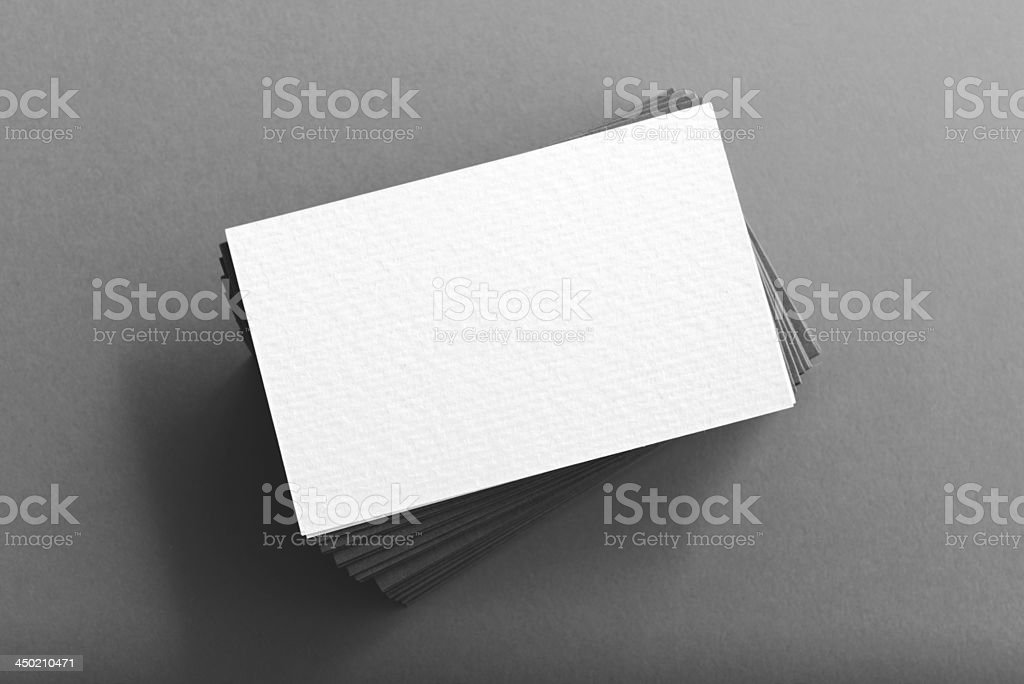 Pile of blank business cards on table stock photo