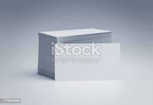 istock Pile of blank business cards 177324545