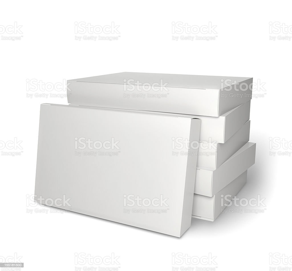Pile of blank product packages isolated on white stock photo