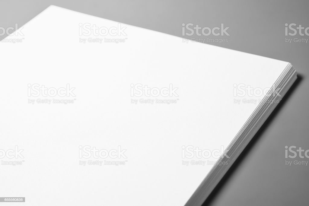 Pile of blank sheets of paper stock photo