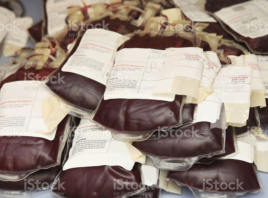 Pile of blood bags  with red blood cells royalty-free stock photo
