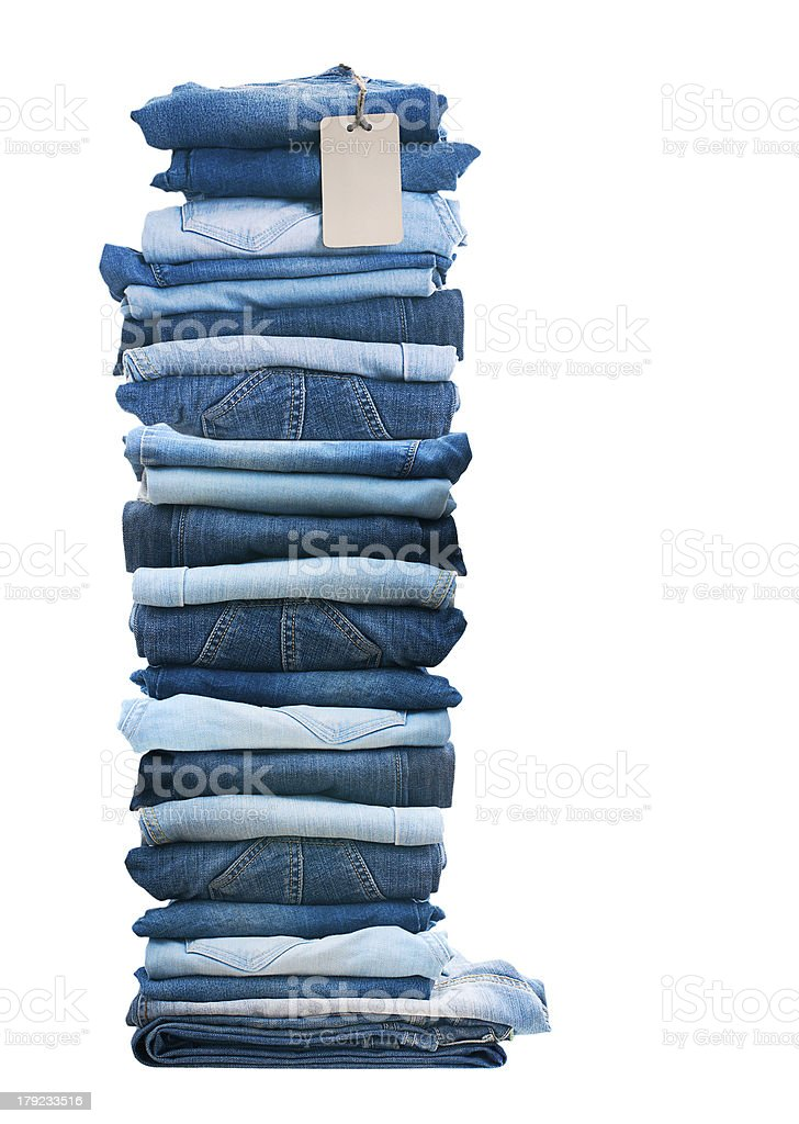 Pile of blue jeans. royalty-free stock photo