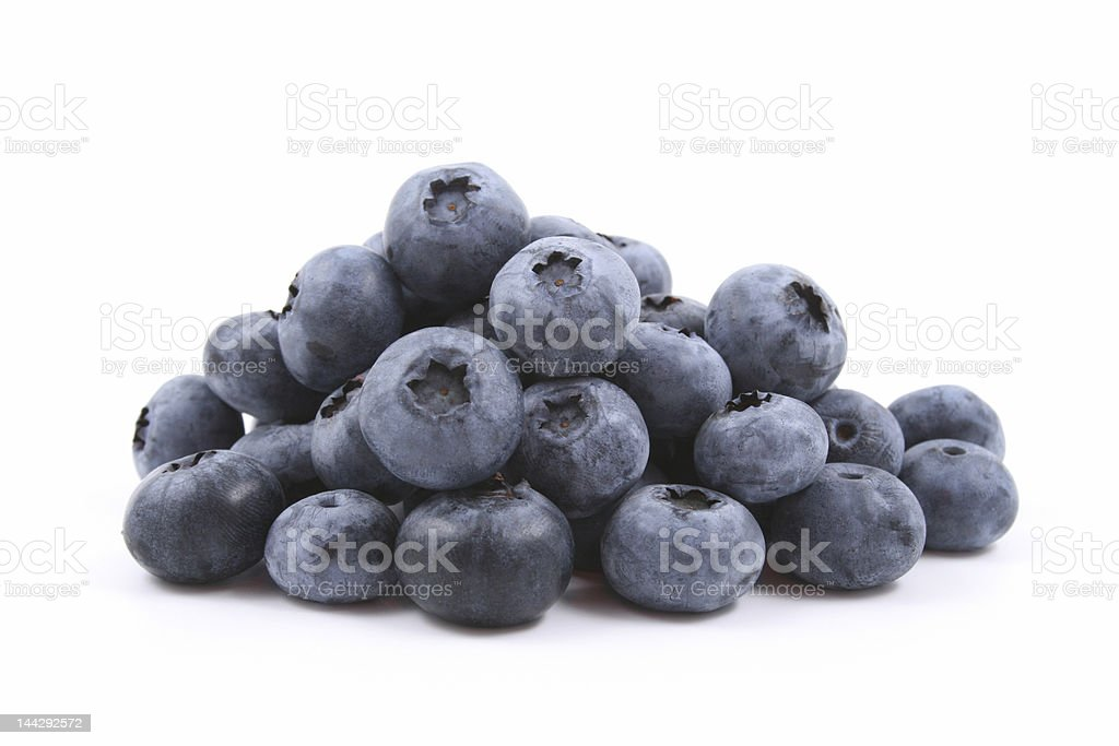 Pile of blueberries on white background royalty-free stock photo