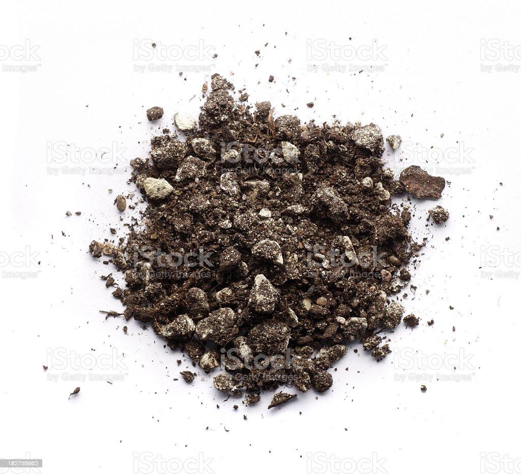 Pile of bonsai soil on white background stock photo