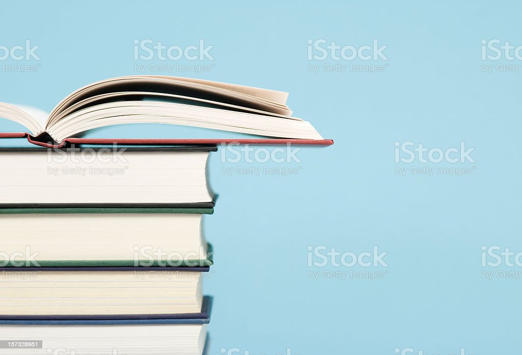 Pile of Books Profile View royalty-free stock photo