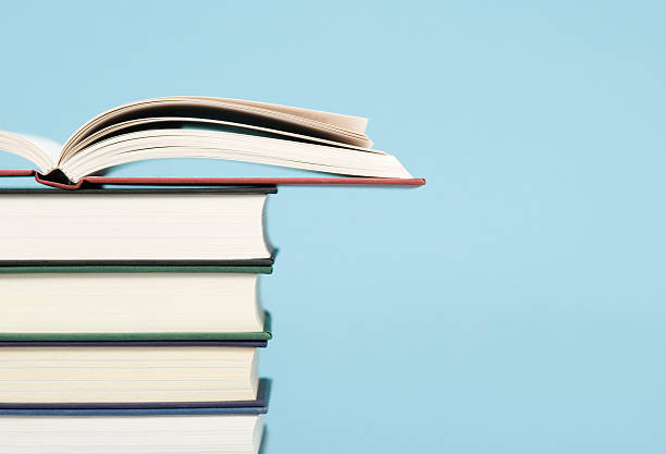 Pile of Books Profile View stock photo