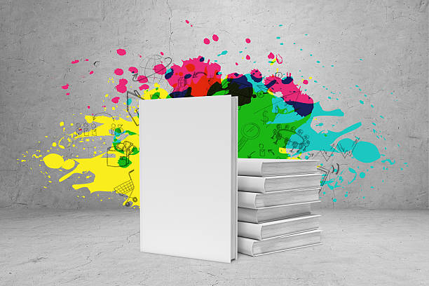 Pile of books with bright ideas stock photo