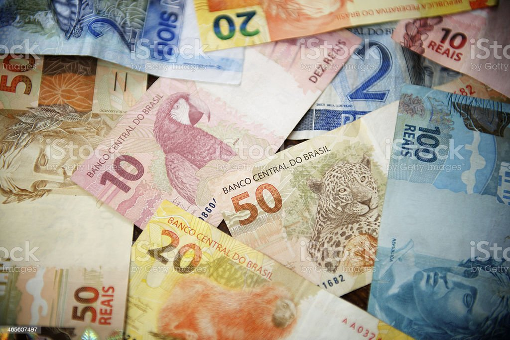 Pile of Brazilian Reals Currency Notes Different Denominations stock photo