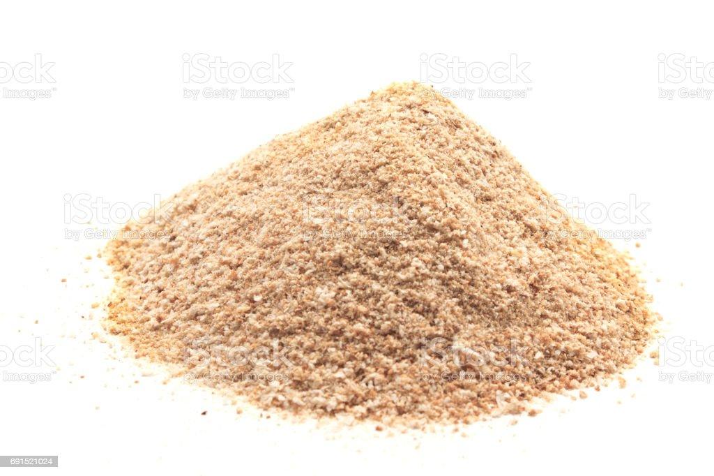 Pile of breadcrumbs isolated stock photo