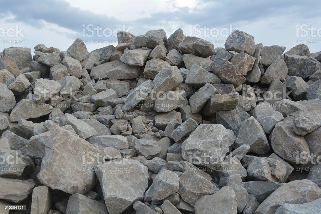pile of bricks under the sky stock photo