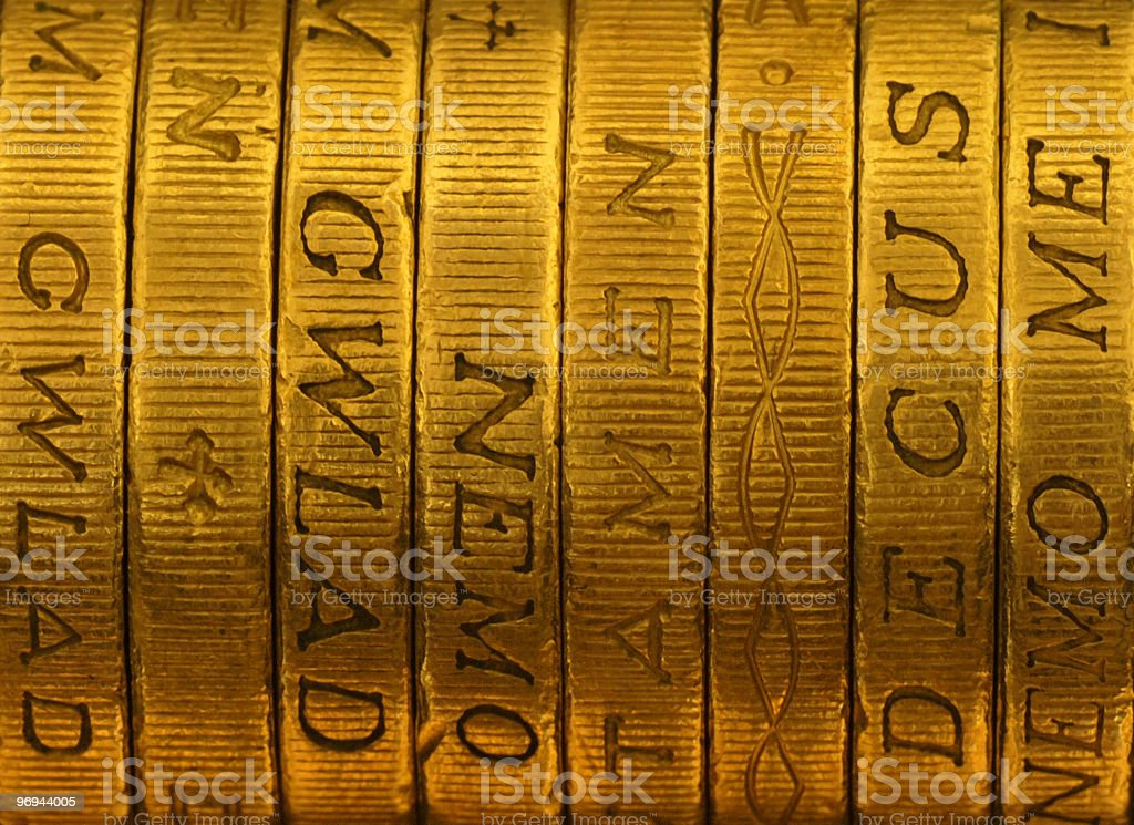 Pile of british one pound coins royalty-free stock photo