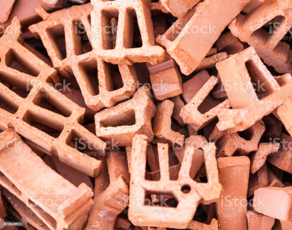 Pile of broken bricks stock photo