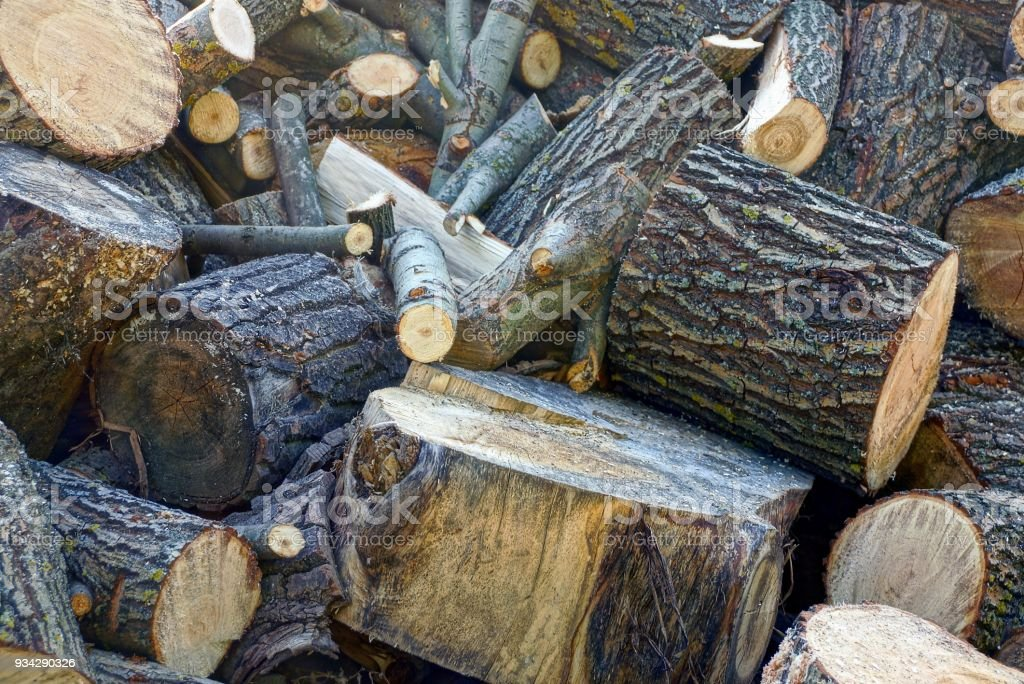 A pile of brown firewood and logs in the yard stock photo