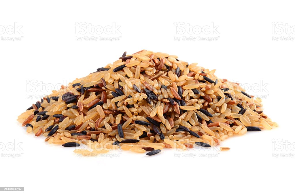 Pile of brown rice stock photo