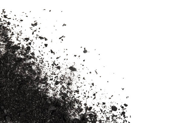 pile of carbon charcoal  splash isolated on white background top view - charcoal drawing stock photos and pictures