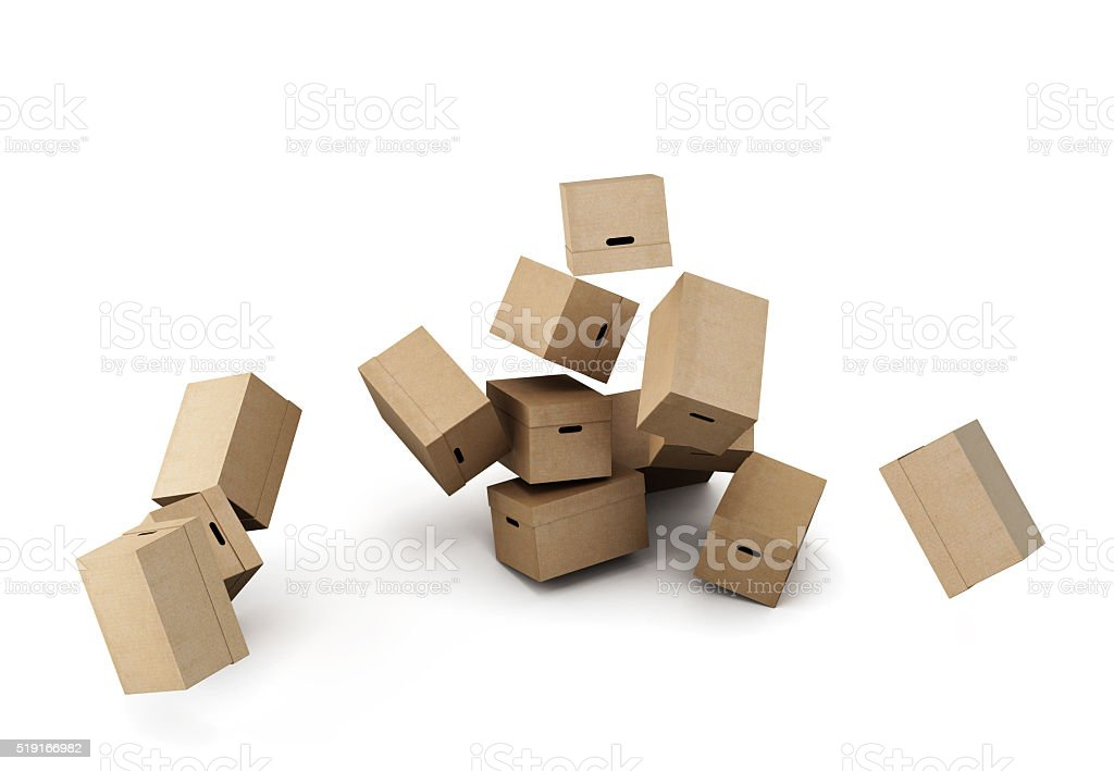Pile of cardboard boxes, conceptual image on a white background. stock photo