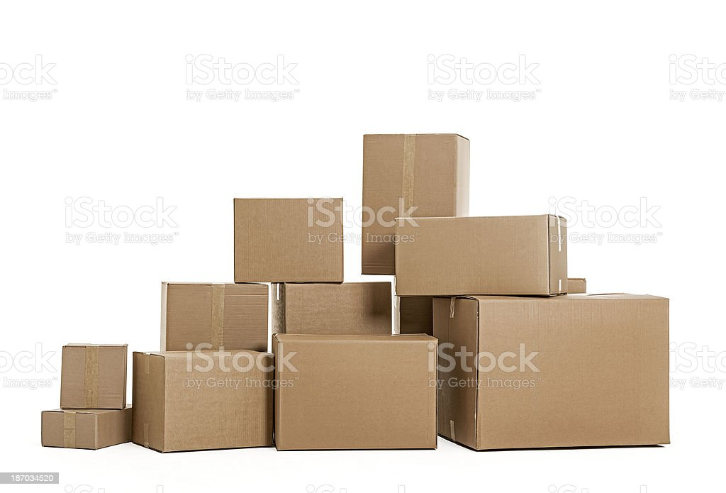 Pile of cardboard boxes on white background stock photo