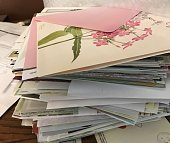Stack of cards to send or received.