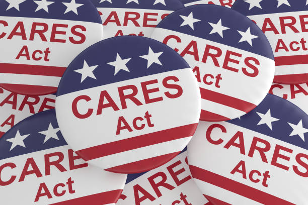 pile of cares act buttons with us flag, 3d illustration - secure act stock pictures, royalty-free photos & images