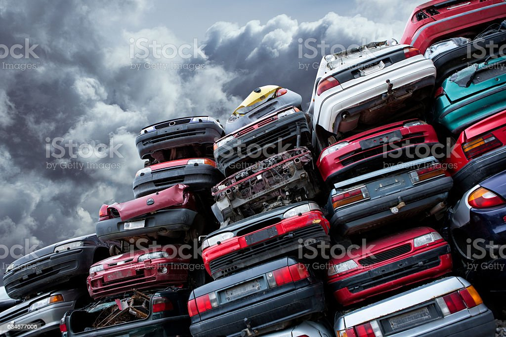 Pile of cars stock photo