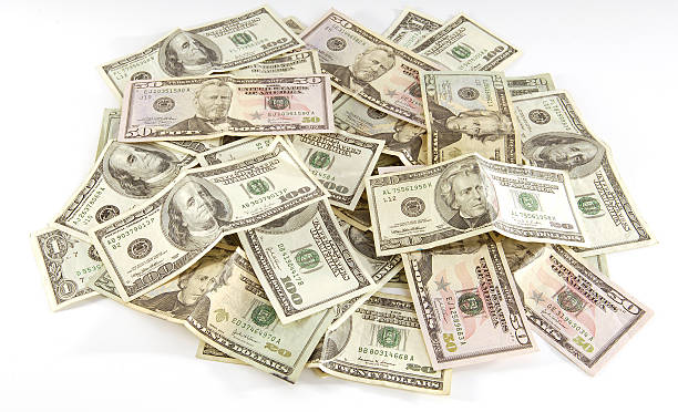 Pile of Cash - American Currency stock photo
