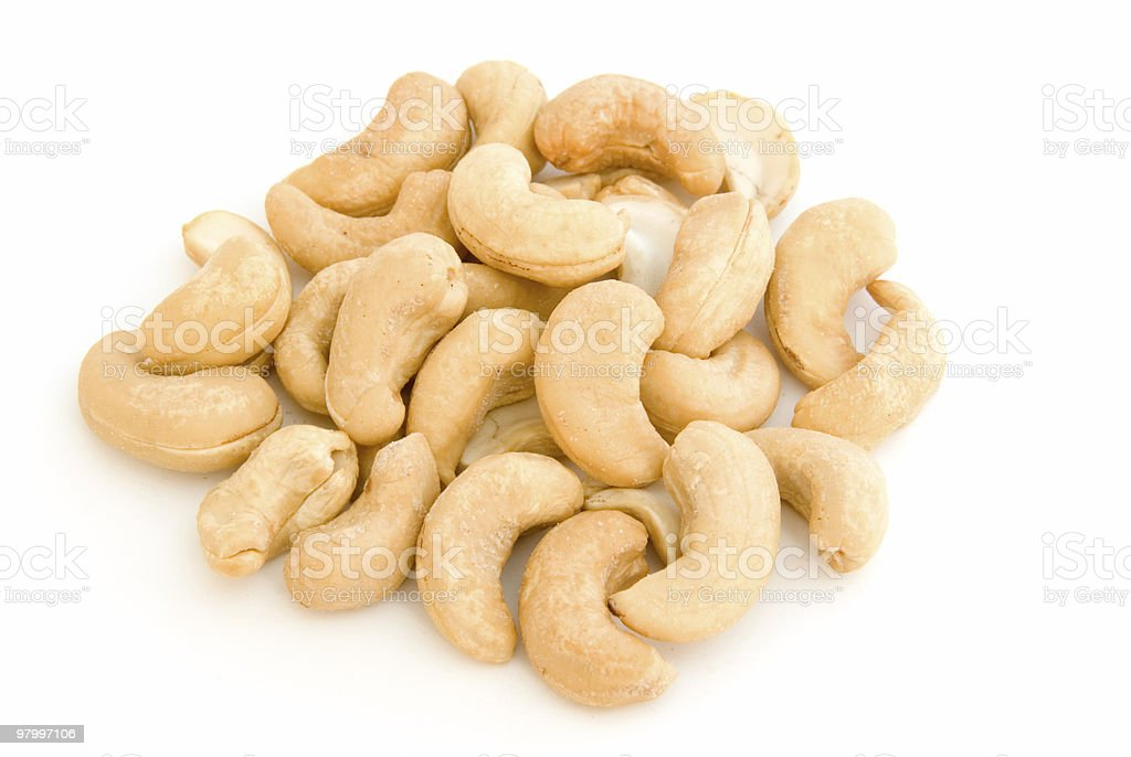 Pile of cashews on white royalty-free stock photo