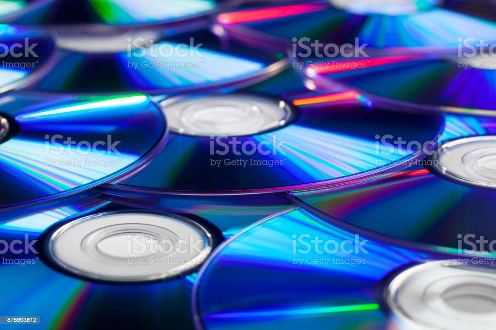 Pile of CD Compact Discs stock photo