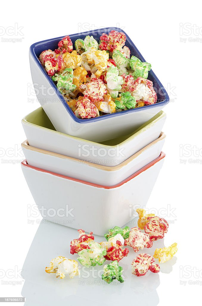 Pile of ceramic bowls with popcorn royalty-free stock photo
