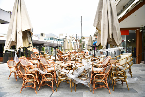 A Pile of Chairs at Outdoor Cafe in Quarantine Due to Covid-19 in Europe
