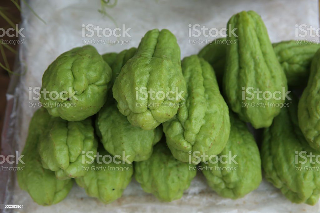 Pile of chayote fruits stock photo