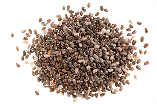 Pile of chia seeds on white stock photo