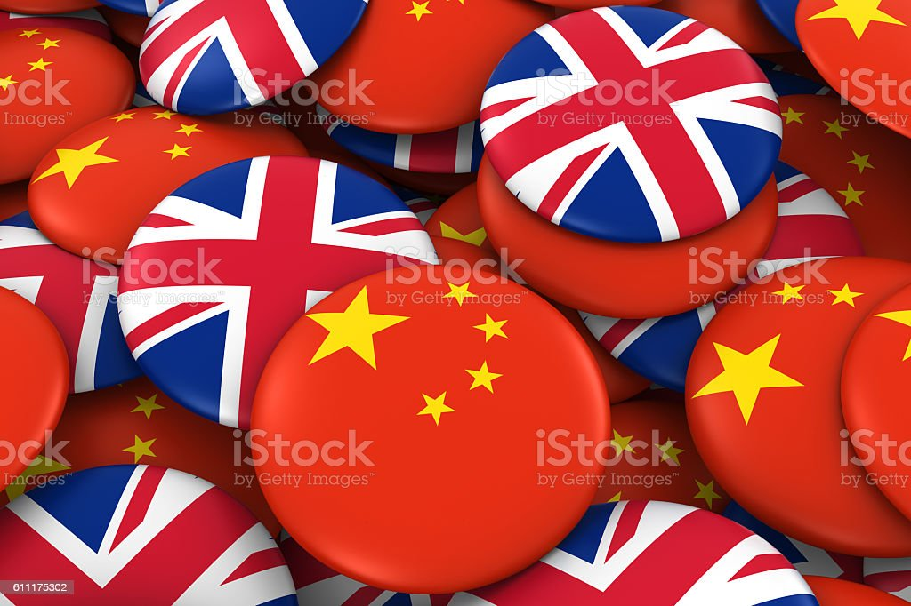 Pile of Chinese and British Flag Buttons 3D Illustration stock photo