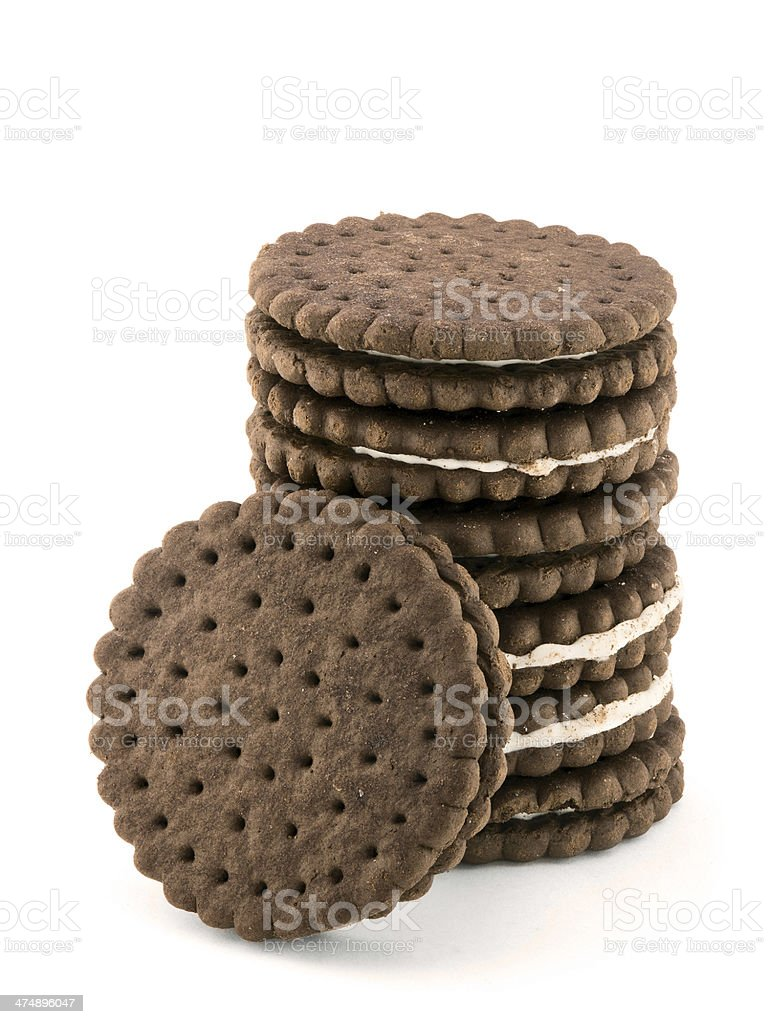 Pile of chocolate cream cookies isolated on white stock photo