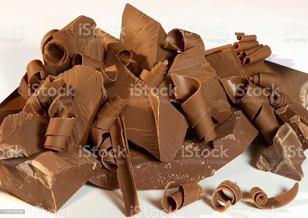 Pile of chocolate shavings royalty-free stock photo