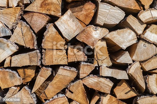 istock Pile of chopped wood material 999097646