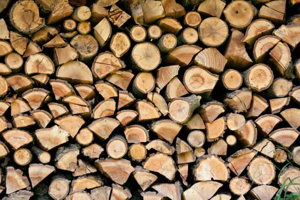 Pile of chopped wood stock photo