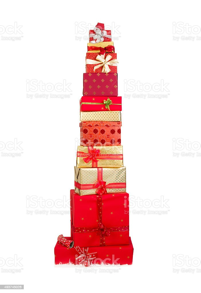 Pile of christmas presents stock photo