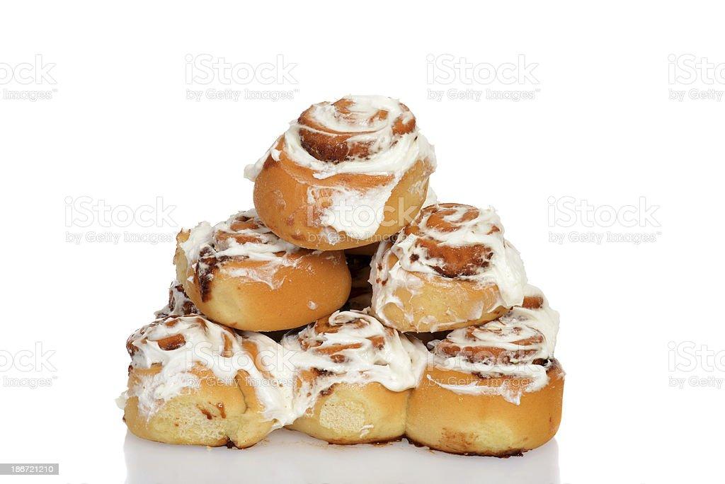 pile of cinnamon buns royalty-free stock photo