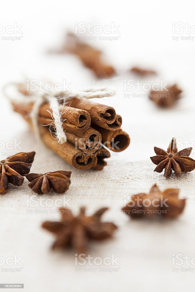 Pile of cinnamon sticks and cloves on homemade canvas royalty-free stock photo