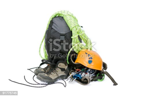 istock A pile of climbing gear with a backpack and a helmet 91775745