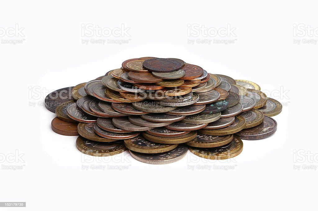 pile of coins A pile of coins isolated on white background Abundance Stock Photo