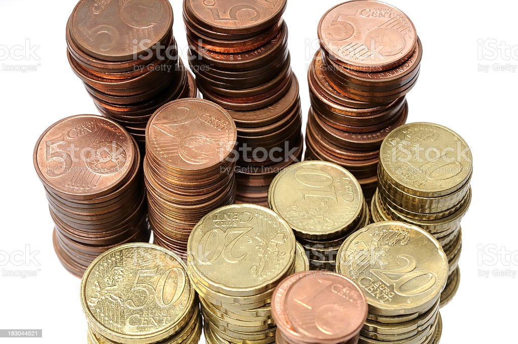 Pile of coins stock photo