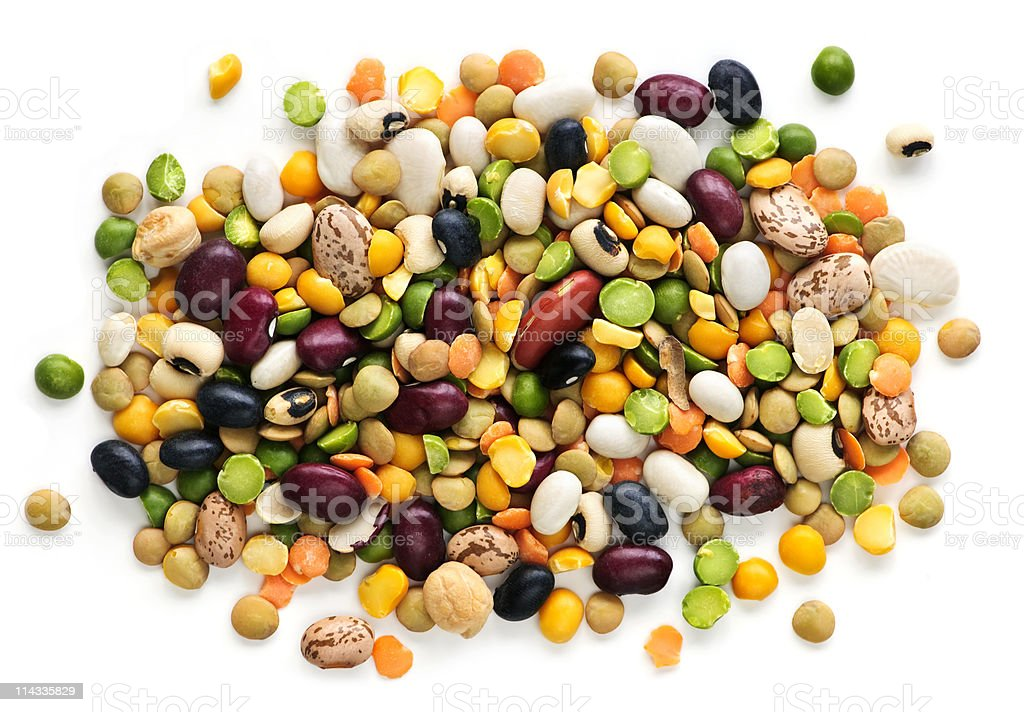 Pile of colorful dried beans and peas stock photo