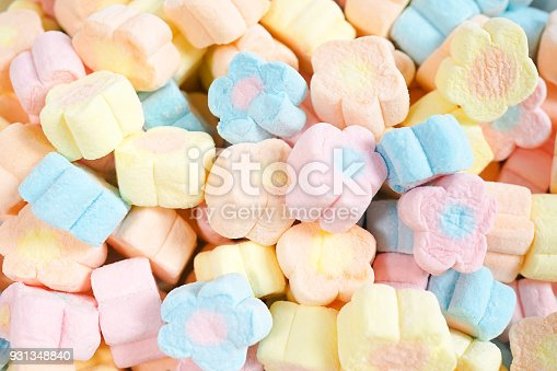 istock A pile of colorful flower marshmallows. 931348840