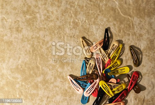 A pile of colorful hair clips