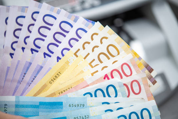 Pile of Colorful Norwegian Krones Banknotes stock photo
