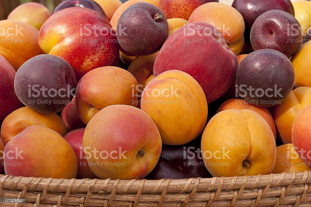 Pile of colorful summer fruits. stock photo