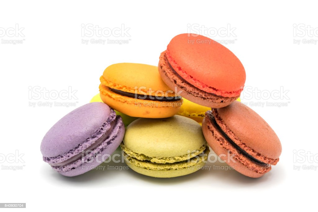 Pile of colorful sweet macarons stock photo