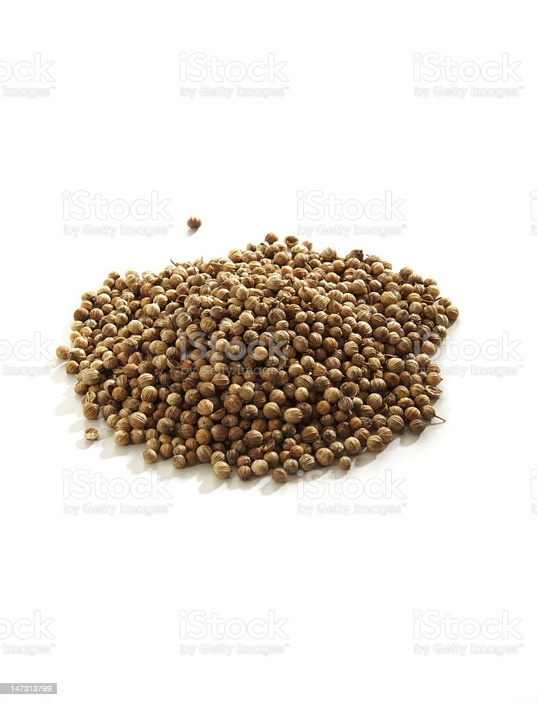 Pile of coriander seeds and one seed alone stock photo